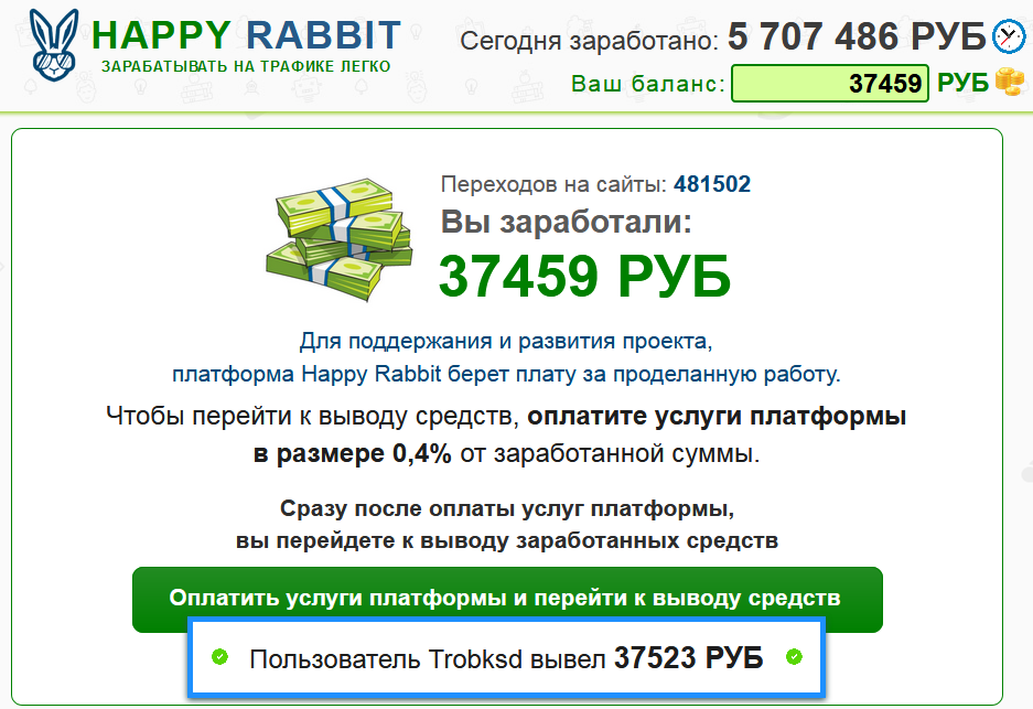 Happy Rabbip комиссия у сайта обмана