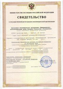 """Свидетельство о государственной регистрации некоммерческой организации АНО """"Систематика"""""""