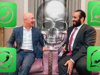 Джефф Безос и наследный принц Саудовской Аравии Мохаммал бин Салман, который был с визитом в США в марте 2018 года. Источник фото: Saudi Press Agency.