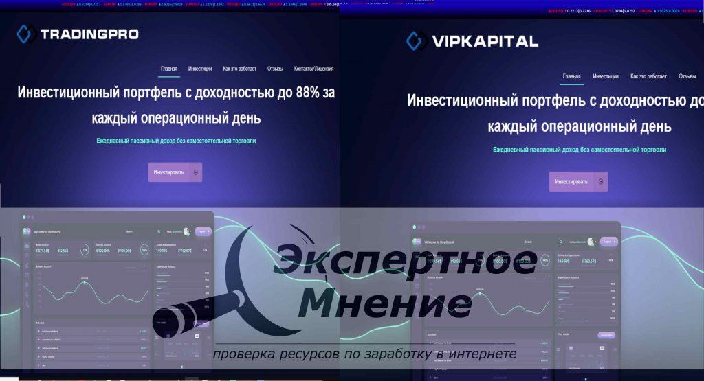 Vip Kapital и Trading Pro Инвестиционный портфель с доходностью